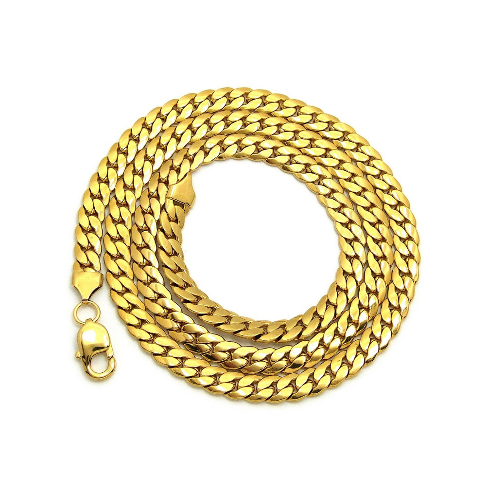 Fantabulous 14k Gold Over Stainless Steel Miami Cuban Link Chain 8.4mm