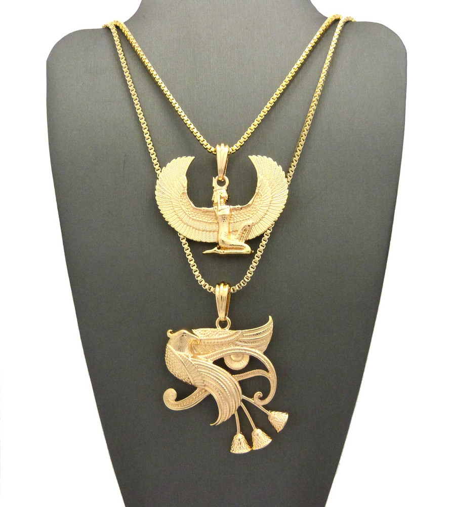 ​Eclectic Eye Of Ra Horus Falcon Of Tutankhamun Pendant Gold