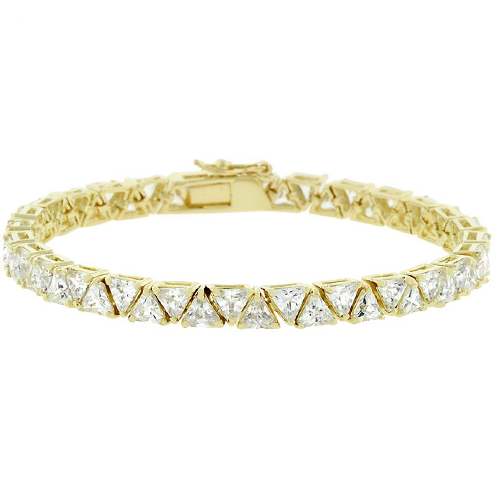 Tantalize The World By Wearing A 28 (Ct) Trillion Cut Simulated Diamond Remembrance Bracelet Gold