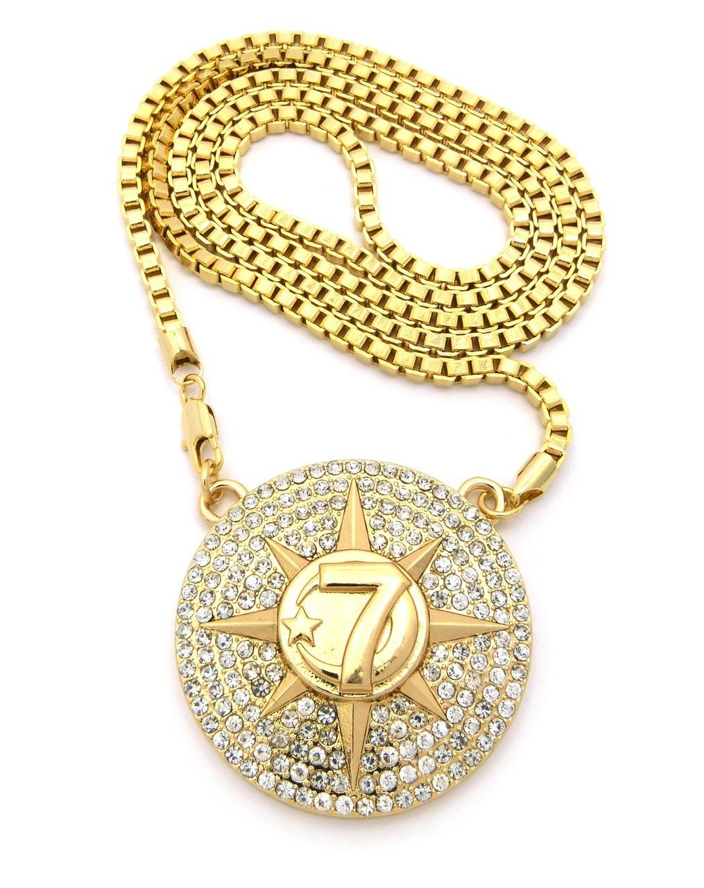 Hip hop 7 star allah chain pendant gold aloadofball Gallery