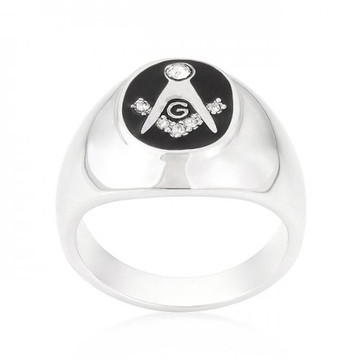 Mens .13(ct) Diamond Cz Iced Out Onyx Free Mason Masonic Ring