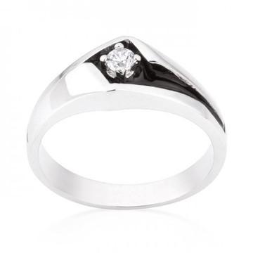 Mens Two-tone Sleek Center Stone Rhodium Silver Overlayed Ring