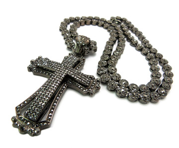 Mens Hip Hop Cz Stone Cluster Chain Pendant Black
