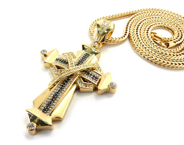 Mens Hip Hop Black & Clear Stone Ribbon Cross Gold