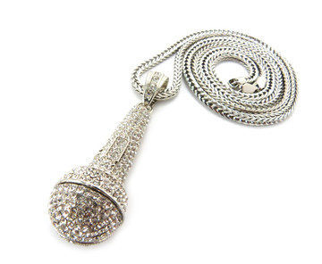 Iced Out Rapper Singer One Mic Microphone Chain Pendant Silver