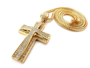 Mens Hip Hop 3D Arc CZ Stone Cross Pendant Chain Gold