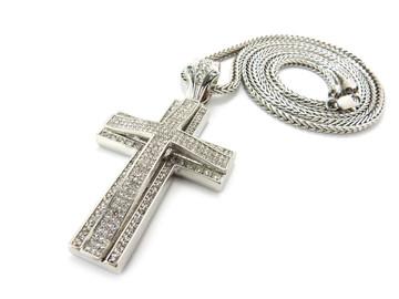 Mens Hip Hop 3D Arc CZ Stone Cross Pendant & Chain Silver
