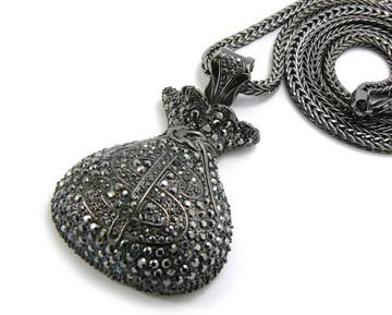 Mens Hip Hop Cash Money Money Bag Pendant Chain Black