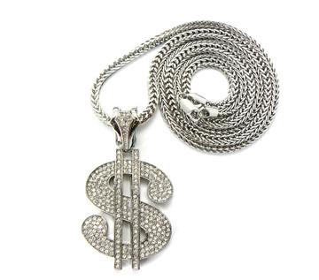 Mens Hip Hop Cash Money Dollar Sign Pendant & Chain Silver
