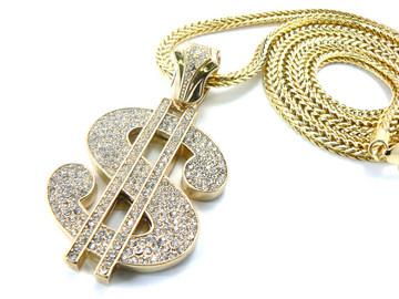 Mens Hip Hop Cash Money Dollar Sign Pendant & Chain Gold
