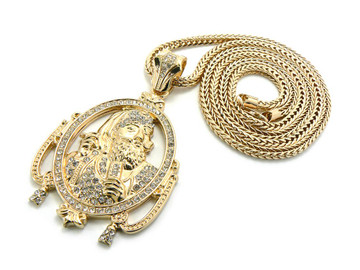 Hip Hop Wiz Khalifa Inspired Zig Zag Man Chain Pendant Gold