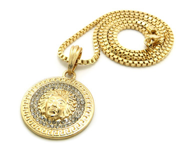 Iced Out Medusa Snake Head Penant & Hip Hop Chain Gold