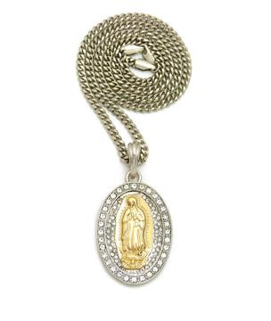.925 Silver Gold Virgin Mary Cz Stone Pendant Cuban Chain