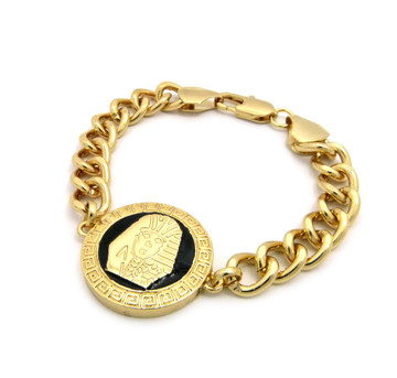 Mens Hip Hop Egyptian King Tut 14k Gold GP Black Enameled Bracelet