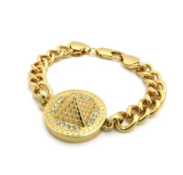 Hip Hop Egyptian Pyramid 3D Bracelet Gold CZ Stone