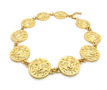 Ladies Celebrity Style Medusa Chain Necklace Gold