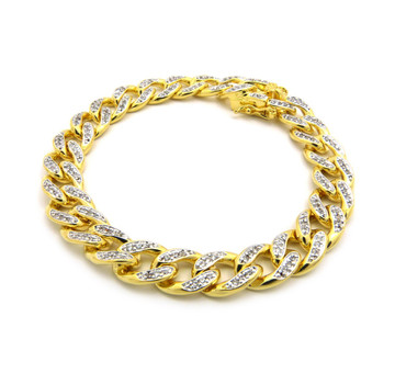 14K Gold Iced Out Top Quality Hand Set Stone Cuban Link Bracelet