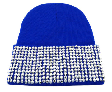 Silver Studded Ladies Celebrity Style Blue Beanie Hat