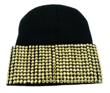 Gold Studded Ladies Celebrity Style Black Beanie Hat