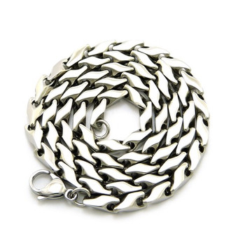 5mm 316L Stainless Steel Bullet Link Solid Hip Hop Chain Necklace