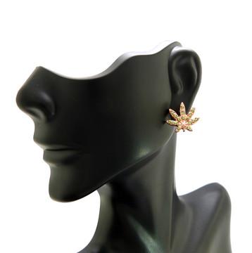 Hip Hop Rose Gold Marijuana Weed Leaf Bling Earrings