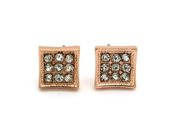Hip Hop 9 Cut  Simulated Diamond Stone Bling Rose Gold Earrings
