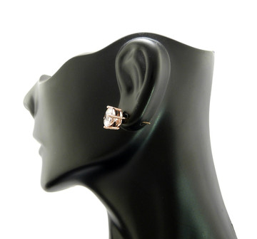 Rose Gold Cz Stone 4 Prong Set Iced Out Round Cut Earrings