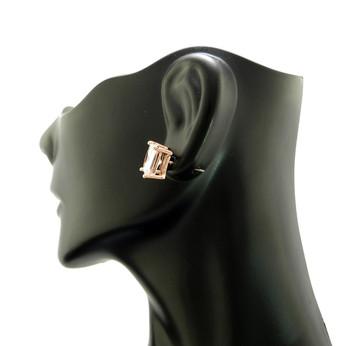 Rose Gold Simulated Diamond 4 Prong Princess Cut Earrings