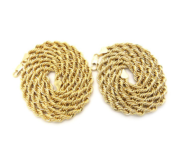 "14k Gold Hip Hop 6mm 24"" 30"" Rope Chain Necklaces"
