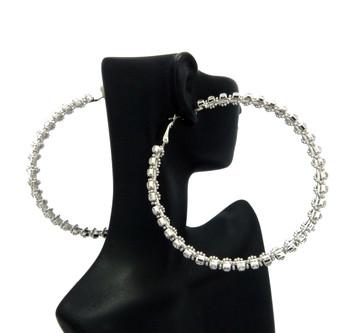 Ladies Big Hoop 2 Row Rhinestone High Fashion Earrings Silver