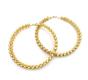 Ladies Big Hoop 2 Row Rhinestone High Fashion Earrings Gold