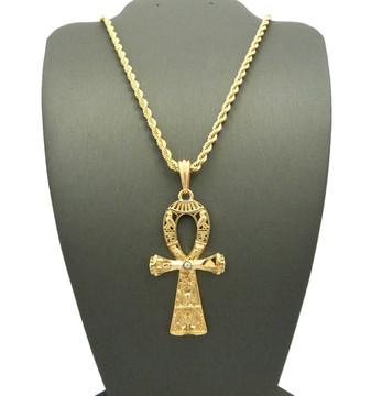 Akhenaten Egyptian Ankh Hieroglyphics Cross Pendant