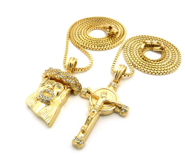 Iced Out God Son Crown of Thorns Micro Jesus Piece Pendant Gold