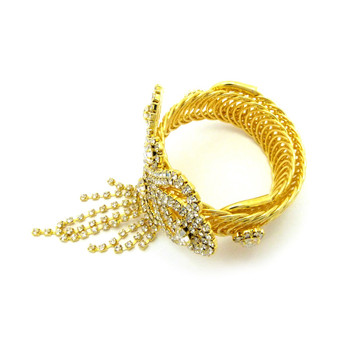 Ladies Tear Drop Sexy Ankle Arm and Wrist Bling Cuff Bracelet Gold