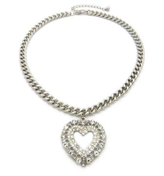 Ladies Big Love Diamond Cz Heart Chain Necklace Silver