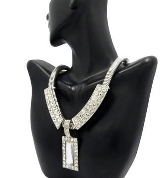 Ladies Diamond CZ Snake Chain Necklace & Pendant Silver