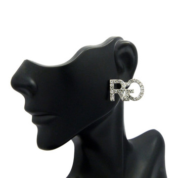 Hip Hop Rich Gang Inspired Bling Earrings Silver