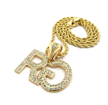 Hip Hop Rich Gang Chain Pendant Gold w/ Rope Chain Necklace