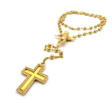 14K Cherub Angel Rosary Beads Cross Pendant