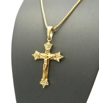 Men's Gold Ancient Arrow Cross Pendant Box Chain Necklace