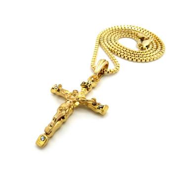 14K Gold Ancient Log Cross Pendant Box Chain Necklace