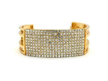 Ladies Bling Diamond CZ Stretch Choker Necklace Earrings Set Gold