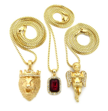 14k Gold Lion Of Judah Micro Cherub Red Onyx Hip Hop Pendant