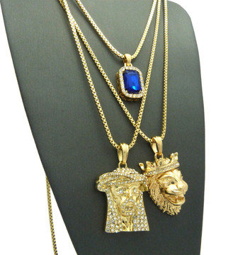 Jesus Lion Of Judah Micro Cherub Blue Onyx Hip Hop Chain