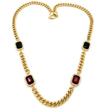 Mens Iced Out Diamond Cz Ruby Red & Black Onyx Chain Gold