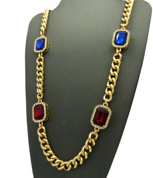 Mens Iced Out Diamond Cz Deep Blue Red Onyx Chain Gold