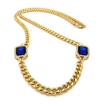 Hip Hop Onyx Diamond Cz Deep Blue Shield Chain Gold