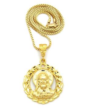 14k Gold Jesus Wreath Son Of God Pendant Chain