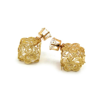 8mm Simulated Diamond Fan Wire Filigree Box Bling Earrings