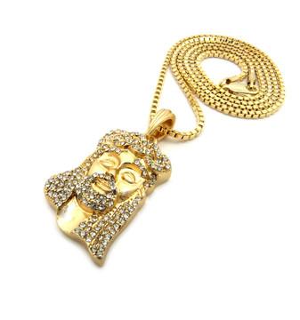 14k Gold Diamond Cz Beard Jesus Pendant Chain